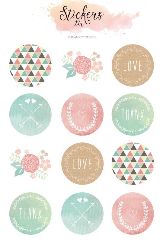 Stickervel watercolor een stickervel met 12 ronde stickers van 35 cm doorsnee 6 verschillende mooie en zachte ontwerpen