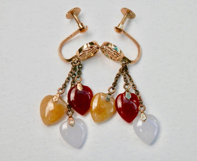 14K Gold Earrings Jade Earrings Hong Kong Export Screwbacks Hearts Asian Chinese Characters Yellow Gold Dangle Earrings Vintage Jewelry