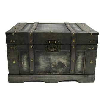 Old Black Fancy Storage Chest