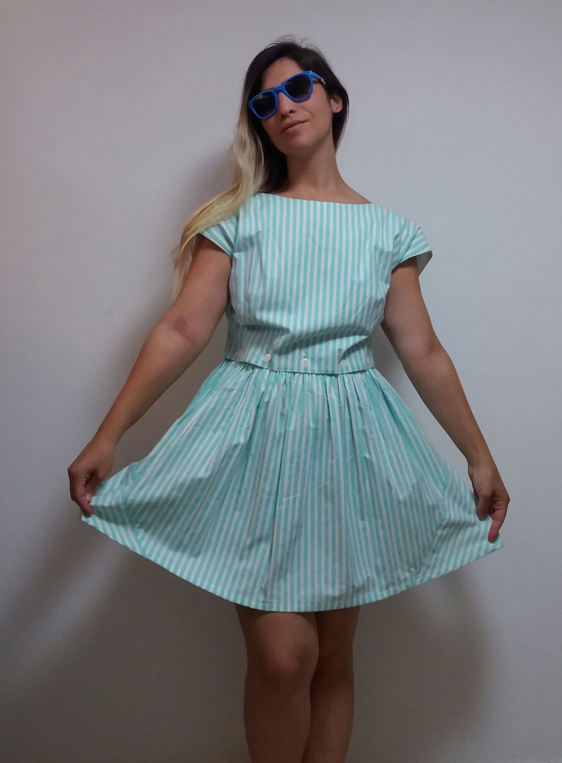 Vintage s turquoise blue white stripes pattern short sleeves mini
