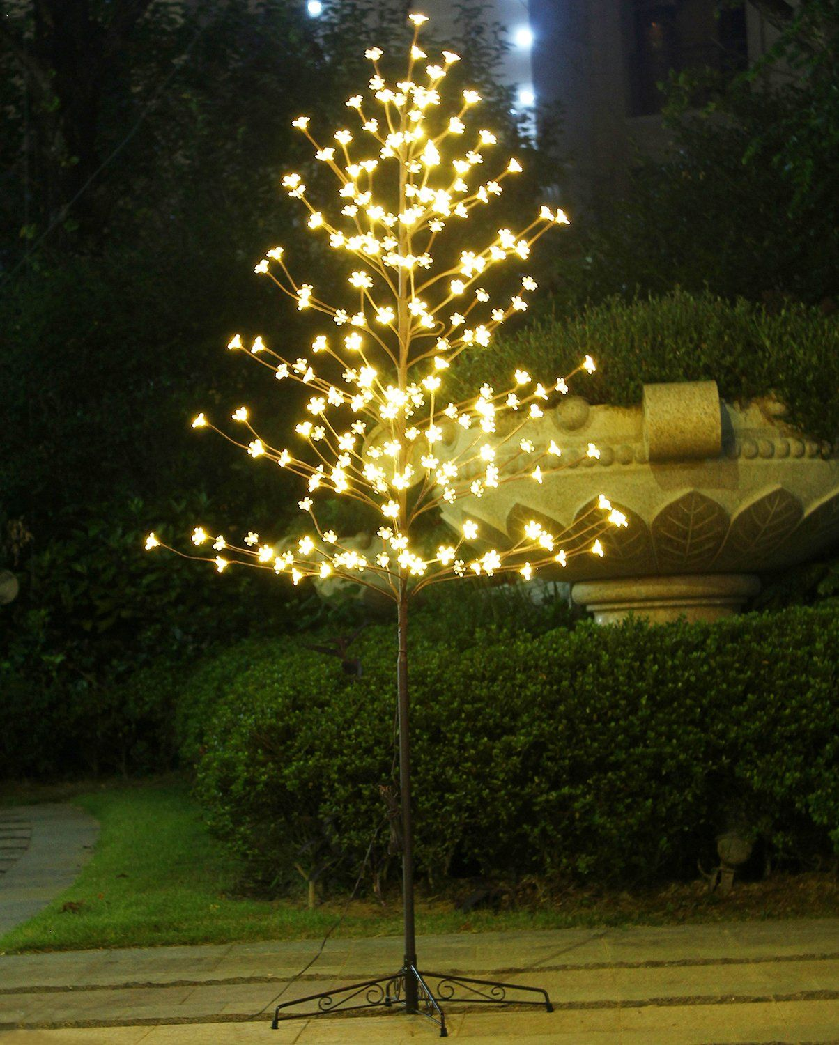 LED Lights Cherry Blossom Flower Tree 6 ft Indoor Outdoor Decoration Warm White