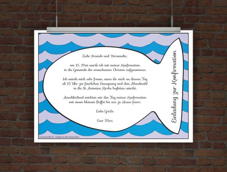 konfirmationseinladung fisch | free printables | pinterest, Einladung
