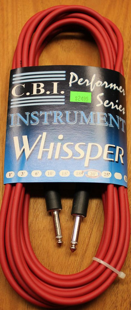 """C.B.I. Whissper Classic Double Heat Shrink 20' 1/4"""" 22 Gauge Instrument Cable Red"""