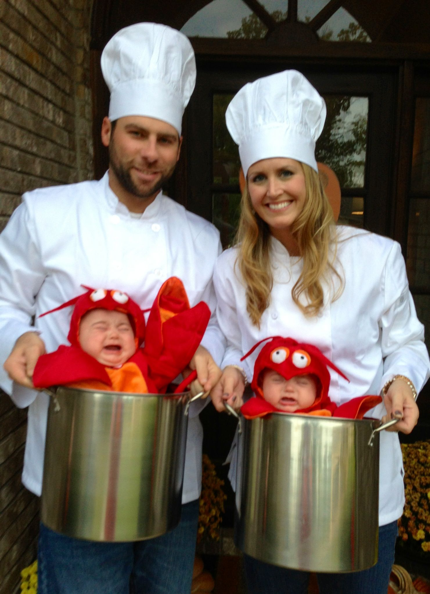 Our twin girls as lobsters and us as the chefs Twins