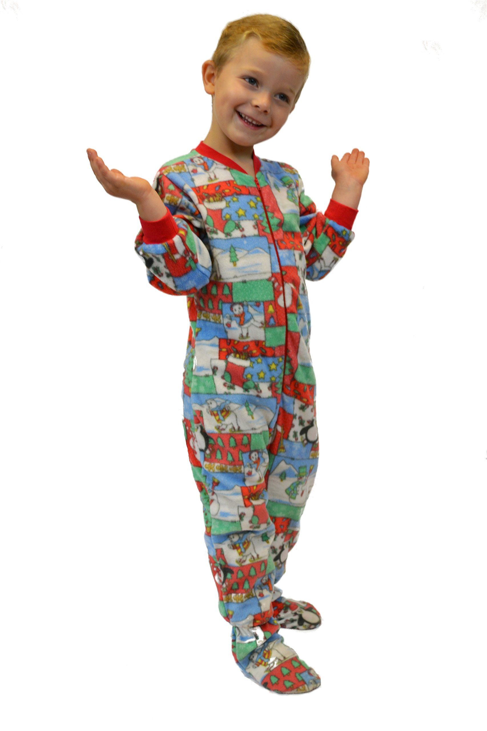 ba30858d1082 Big Feet PJS Kids Winter Fun Fleece Boys Footed Pajamas Onesie ...
