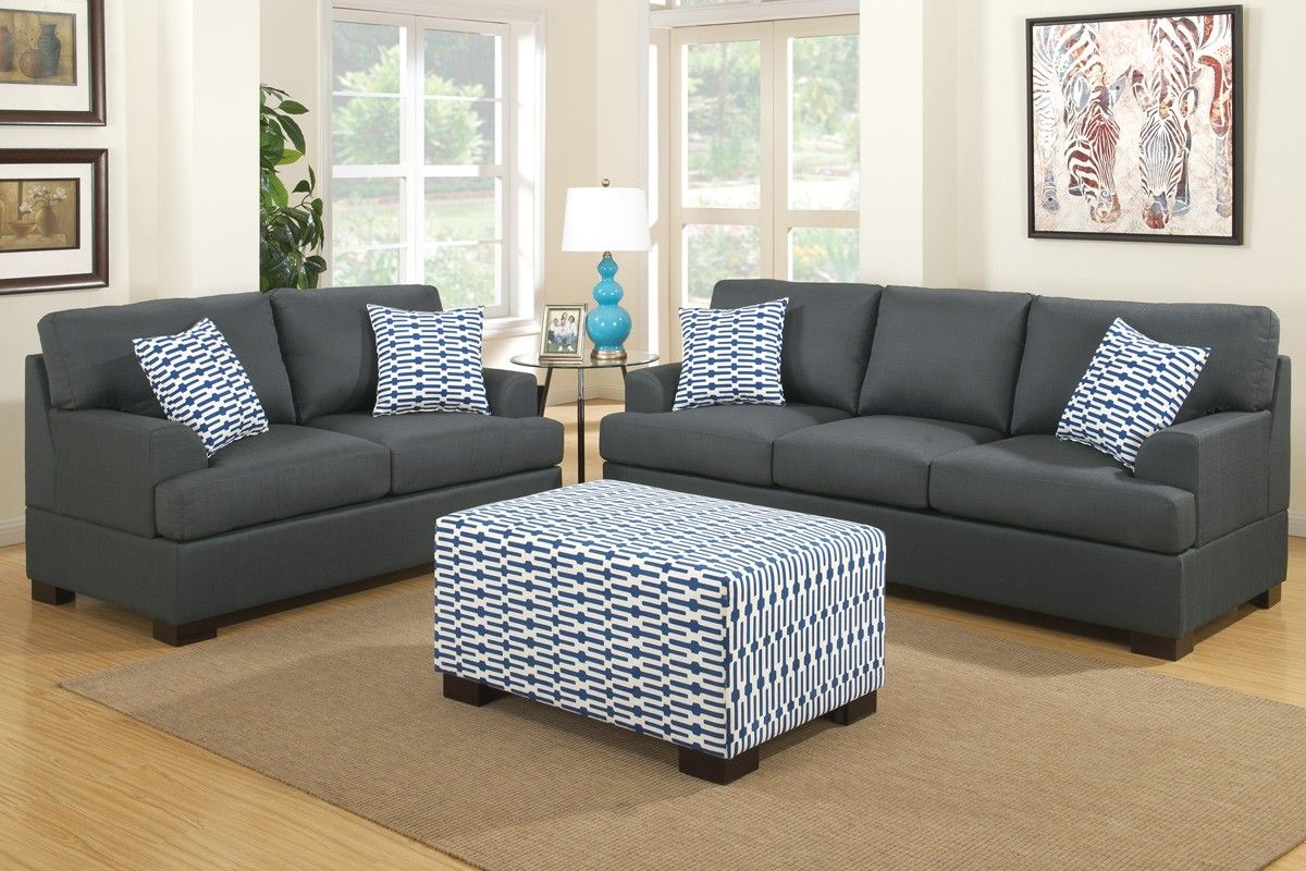 Poundex 2 Pieces Slate Black Sofa Loveseat With Pillows