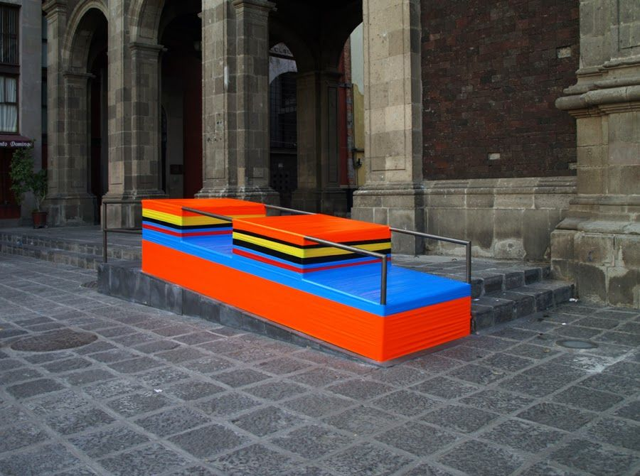 Madrid Based Artist Marlon De Azambuja Transforms The Empty Spaces That  Exist In Urban Furniture Into Solid Volumes By Covering Them In Colorful  Duct Tape.