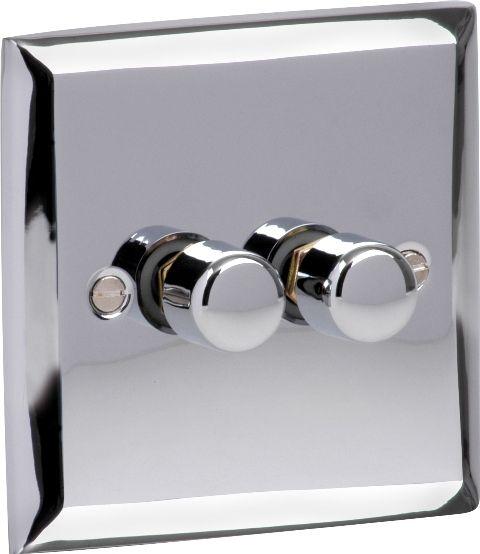 Varilight 2 Gang Double 2 Way 400 Watt Dimmer Switch In