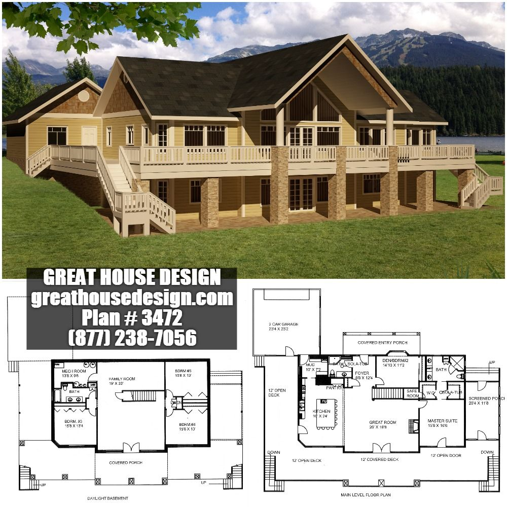 Mountain Home Plan #3472 Toll Free: (877) 238-7056 ... on decks for mountain homes, fireplaces for mountain homes, open floor plans for beach homes, windows for mountain homes, covered parking for mountain homes, open floor plans for barn style homes,