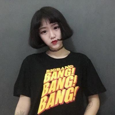 2017夏のk,ポップファッションbangbangbangプリントtシャツ女性男性カップルドレスストリート