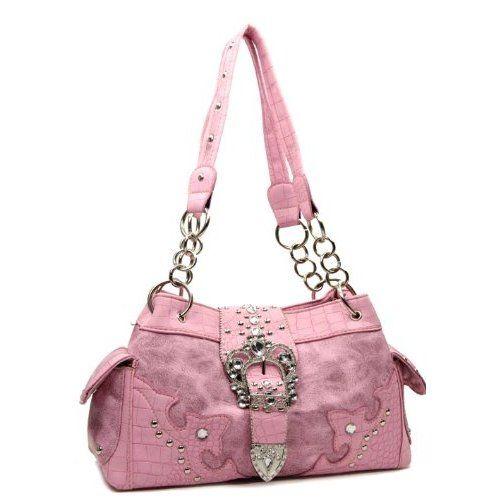 Handbags Bling More Pink Western Buckle Cow Rhinestone Purse Purses