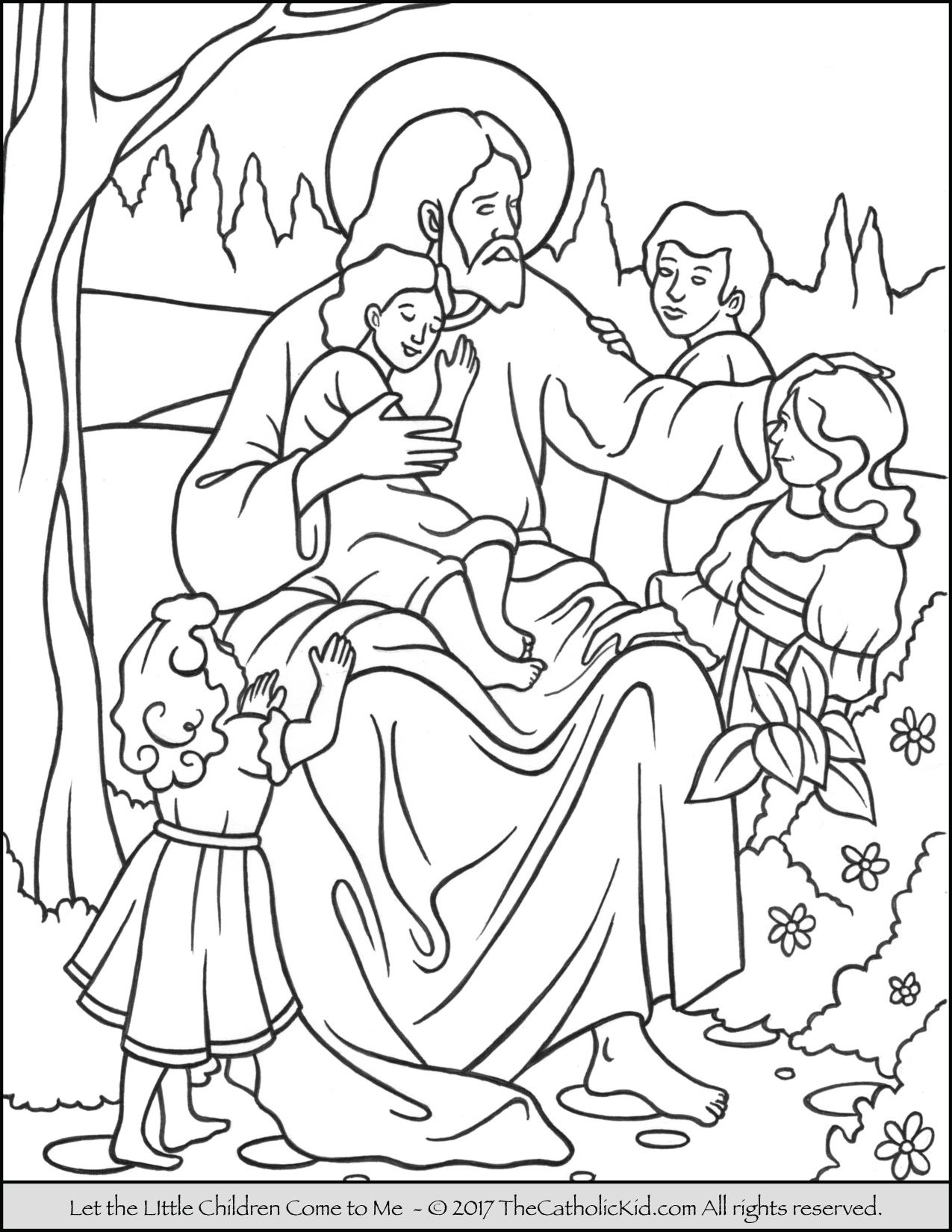 Jesus – Let the Little Children Come to Me Coloring Page ...