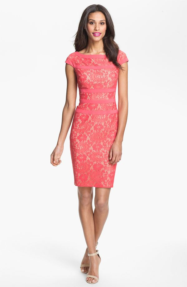 Pink Lace Dress with Sleeves | Pink Lace Celebrity Dress On Sale ...