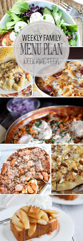 Weekly Family Menu Plan featuring 5 weeknight dinner