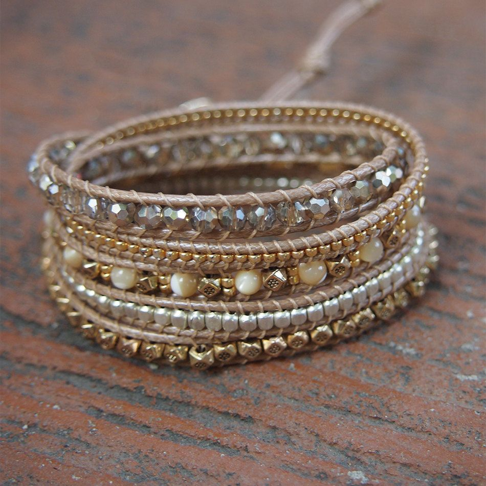 Gold mix wrap bracelet, Boho bracelet, Bohemian bracelet, Beadwork bracelet by G2Fdesign on Etsy