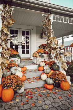 Colorful Farmhouse Fall Porch Steps