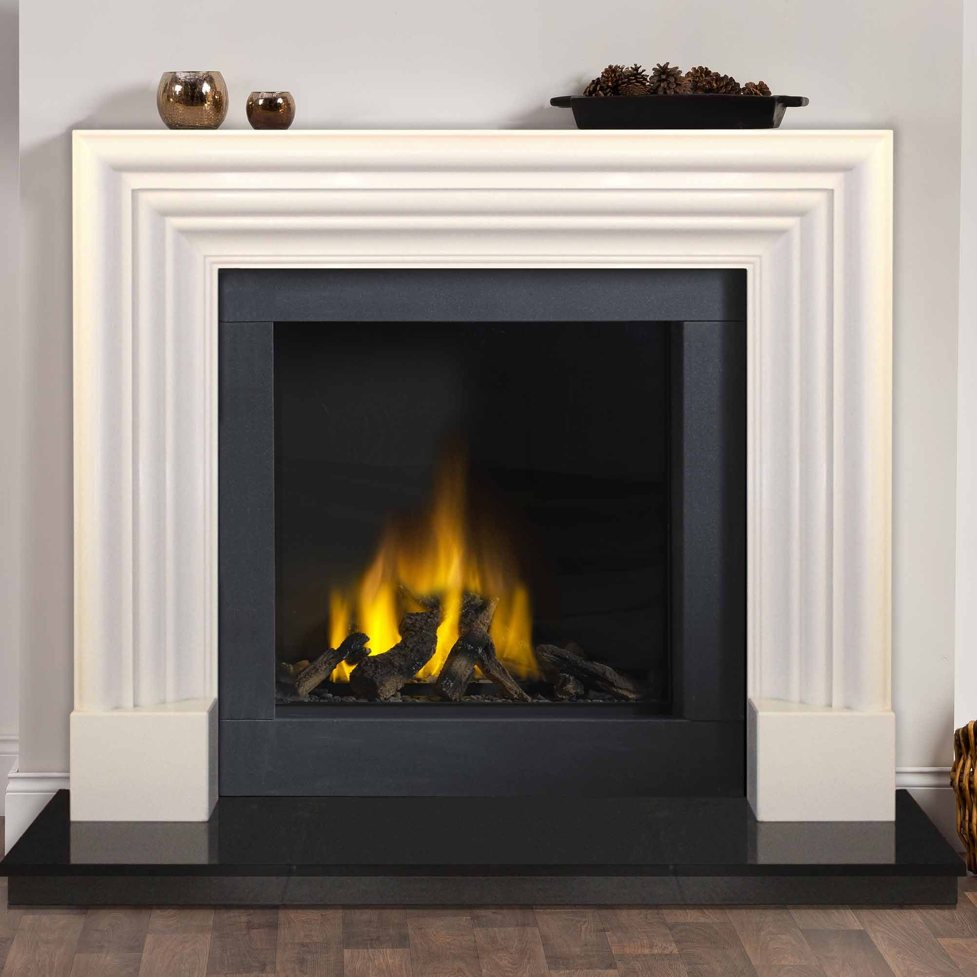 Adare Ivory Pearl Surround Pictured With A Black Granite Hearth Honed Slips And Tl60cf Vision Trimline Gas Fire Fireplace Granite Hearth Design
