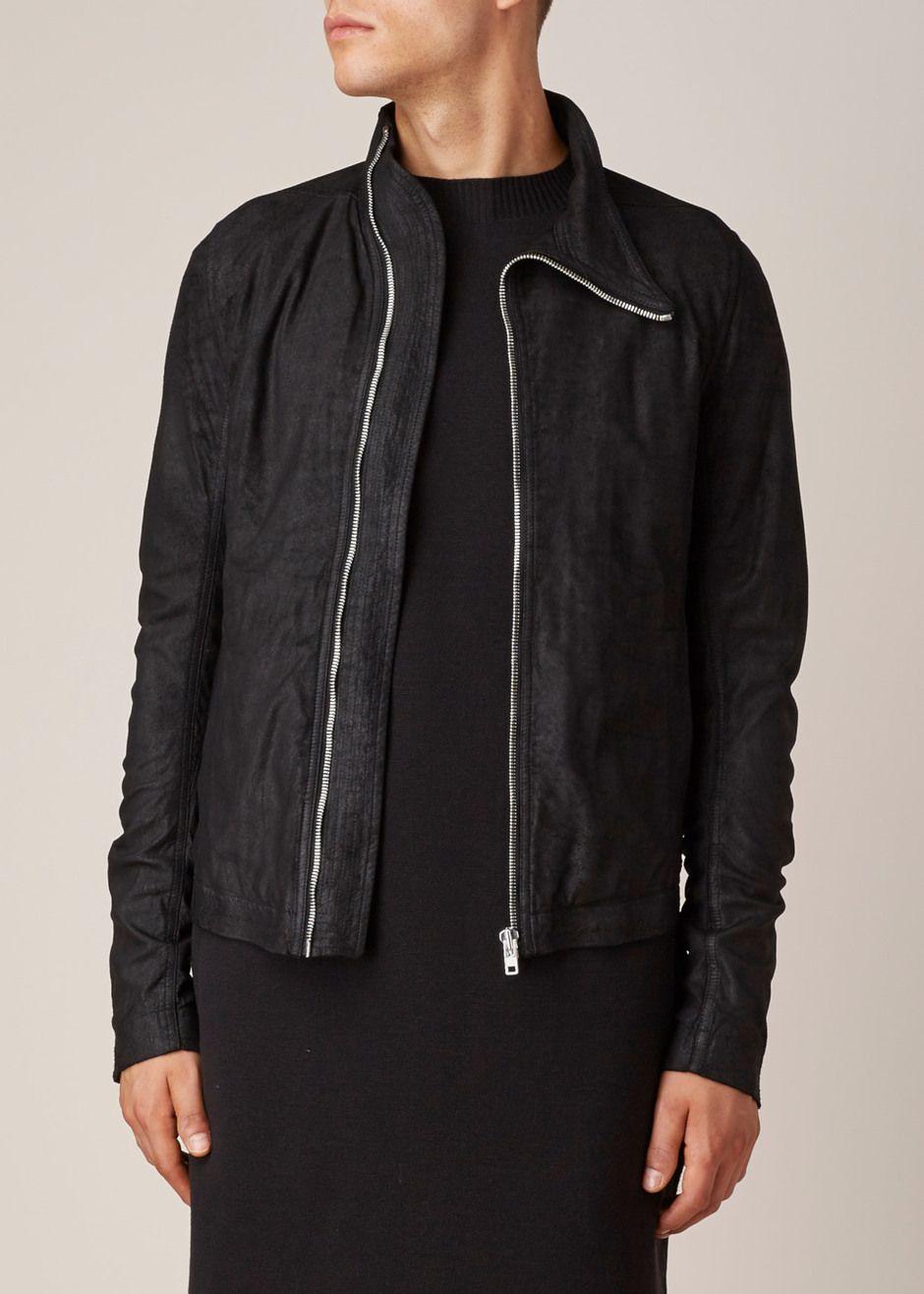 Leather jacket aesthetic - Rick Owens Funnel Neck Leather Jacket Black