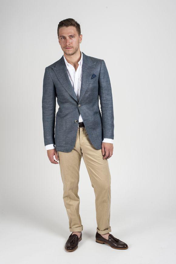 Men's Charcoal Blazer, White Dress Shirt, Khaki Chinos ...