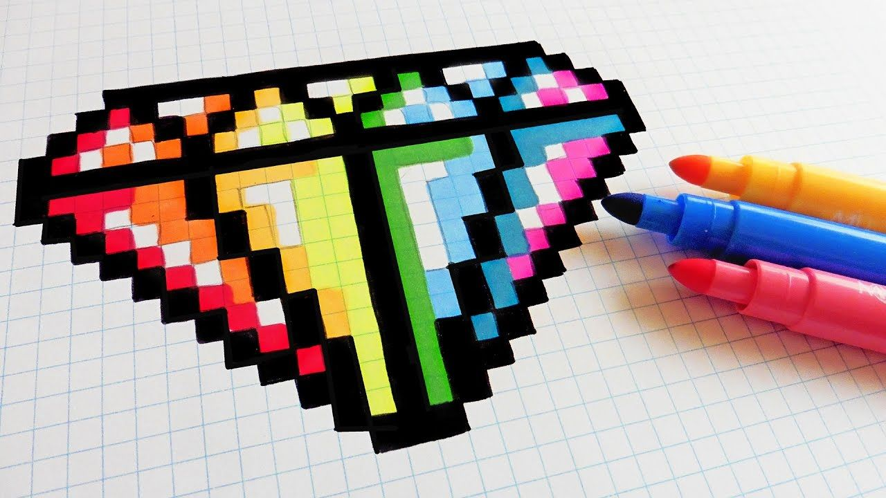 Handmade Pixel Art How To Draw Rainbow Diamond Pixelart Youtube