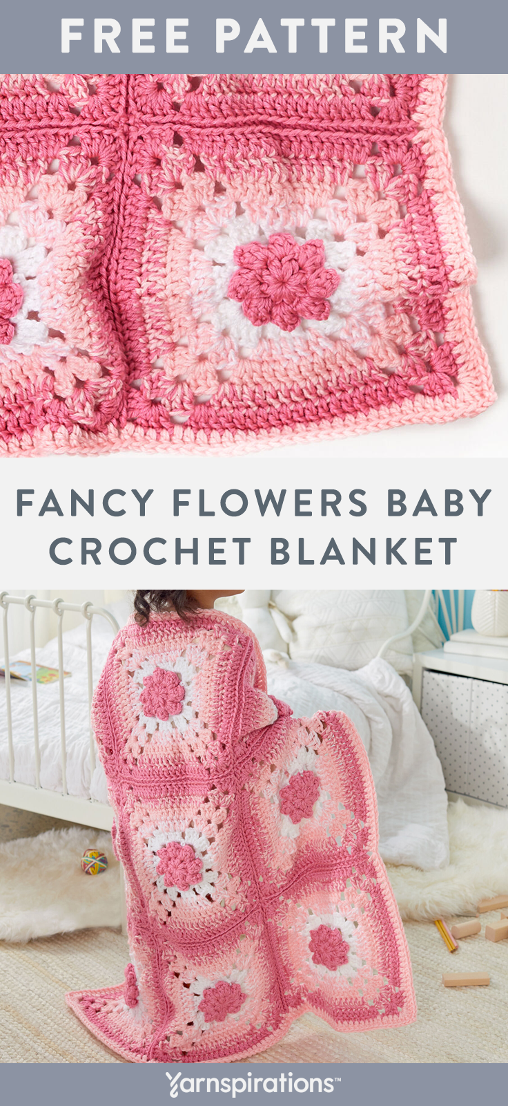 Free Fancy Flowers Baby Blanket crochet pattern using Red Heart Soft Baby Steps yarn. This classic design got an update with this ombre effect! Your favorite flower-loving kiddo will snuggle up under the pretty flowers and have sweet dreams! #yarnspirations #freecrochetpattern #crochetthrow #crochetafghan #crochetblanket #babyblanket #redheartyarn #redheartsoft #babyyarn #springcrochet #springthrow #flowerblanket