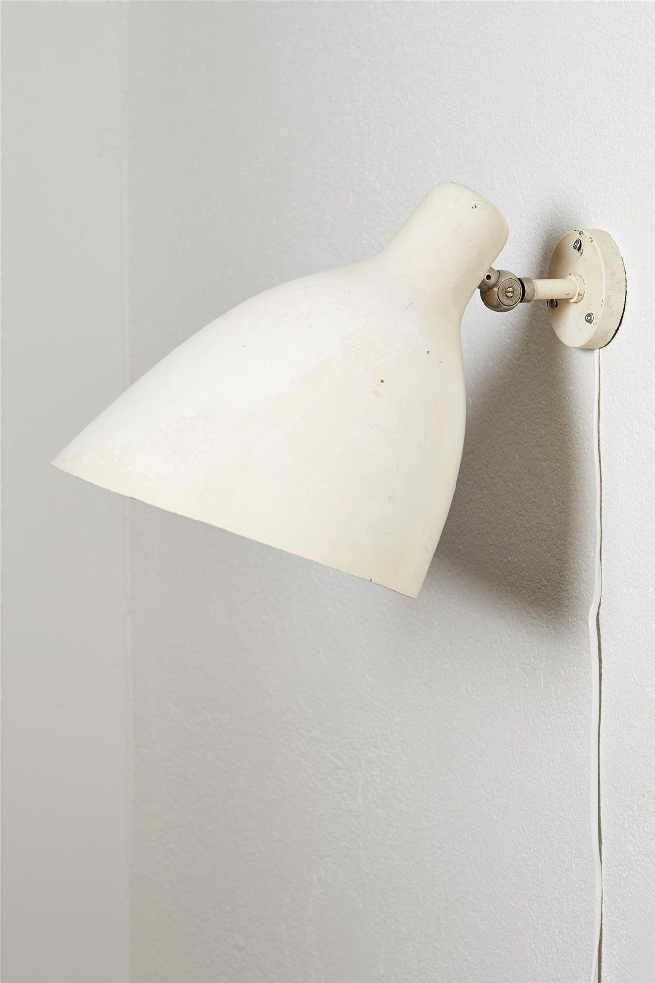 Erik Gunnar Asplund; Enameled Steel Wall Light from the Gothenburg Law Courts, 1930s.