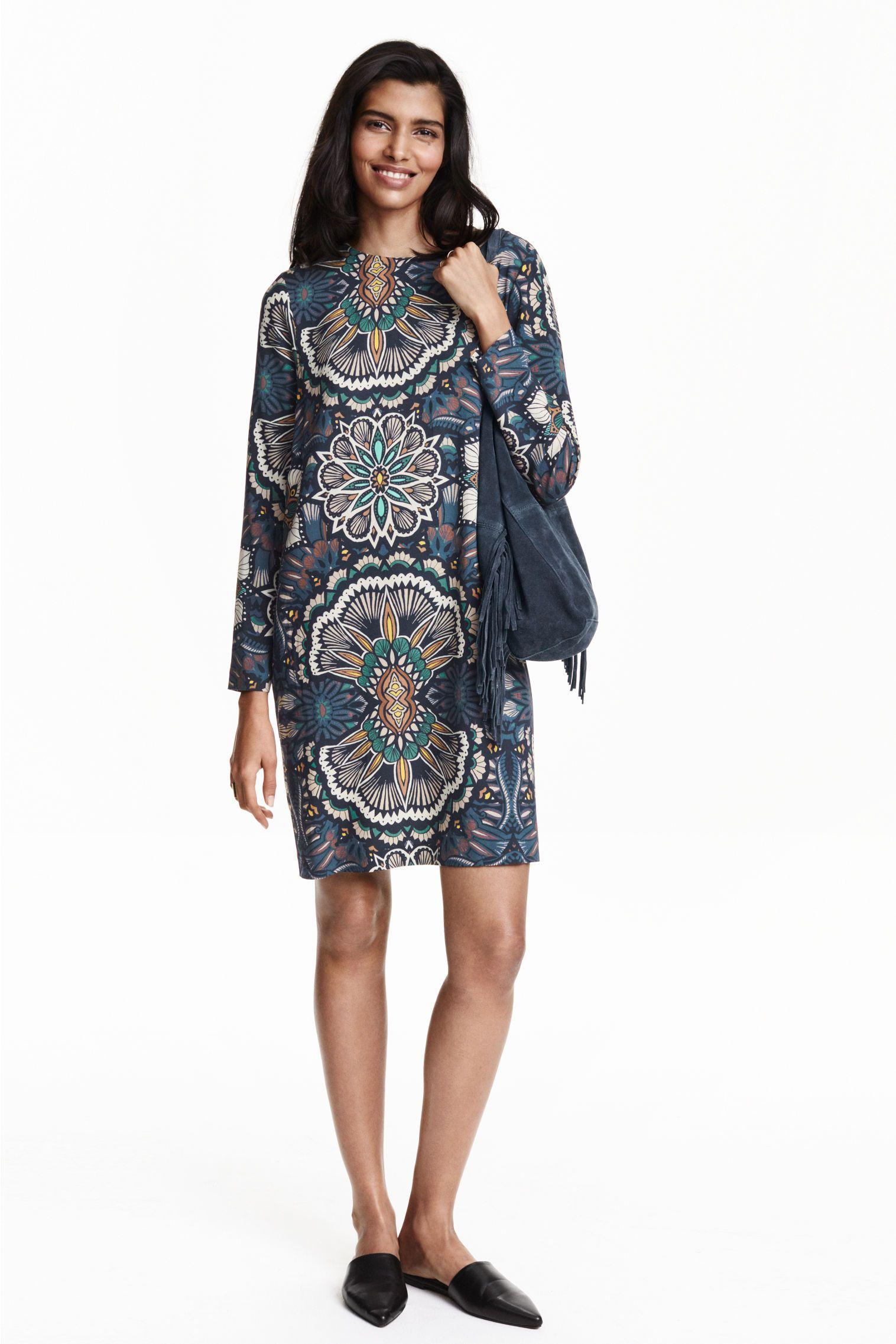 Robe à motif - Bleu foncé - FEMME | H&M FR. Motif ImpriméRobe CourteManches  ...