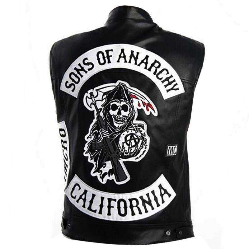 Jackson Jax Teller Sons Of Anarchy Leather Patches Vest Distressed Leather Jacket Leather Jacket Men Leather Jacket Men Style