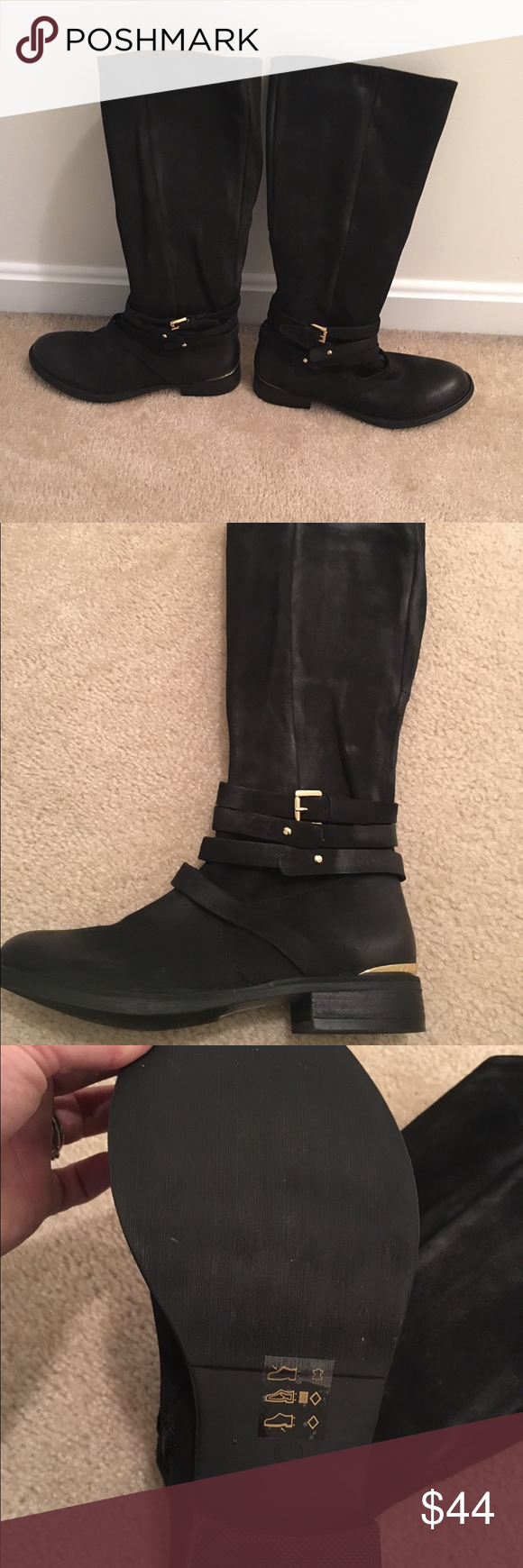Steve Madden boots Black Steve Madden zip up knee boots, beautiful! Worn 1 time! Perfect condition! Gold detail. Shoes