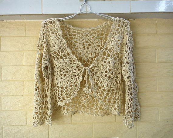 Crochet Bolero Jacket Crop Top Tie Front Wedding