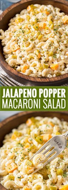 Jalapeno Popper Macaroni Salad | Regular macaroni salad, step aside... this creamy jalapeño popper version is full of amazing flavors, packs some spicy punch, and is perfect for any gathering or bbq! | http://thechunkychef.com -   22 macaroni salad recipes ideas