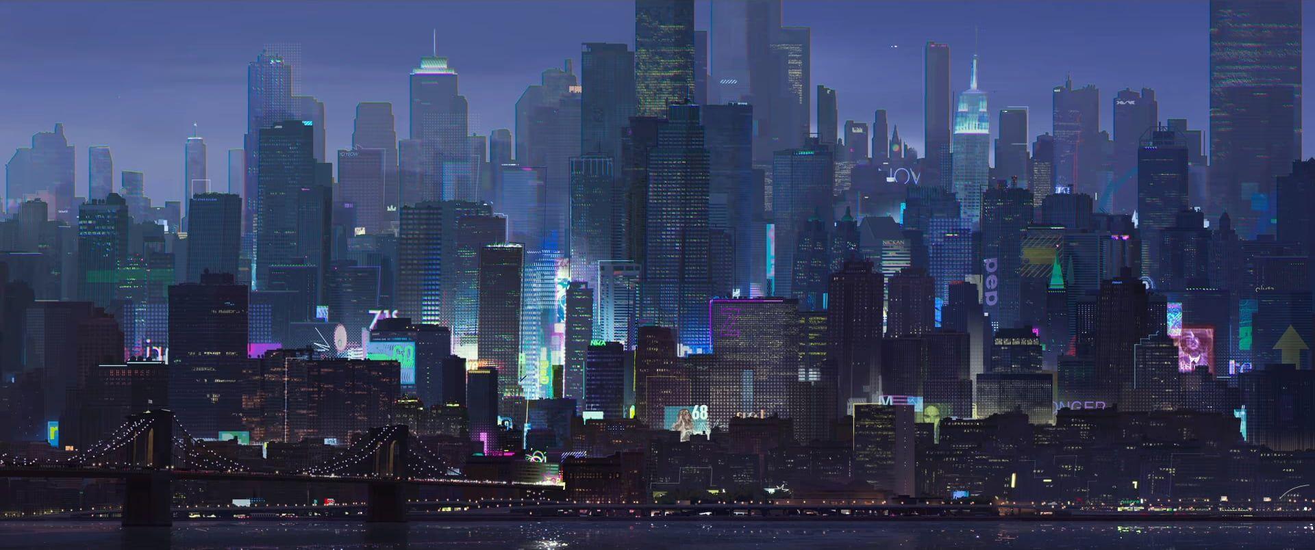 City Landscape Cityscape Artwork Spider Man Blue 1080p Wallpaper Hdwallpaper Desktop City Landscape Concept Art World Cityscape