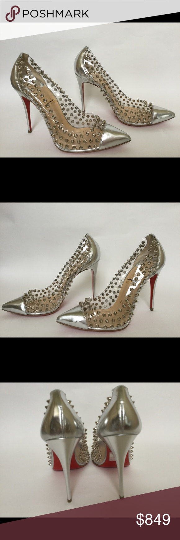 2e1fd2aabe0a Christian Louboutin spike me PVC cap toe pump 38.5 Christian Louboutin  Transparent PVC with silver spikes 4 1 4