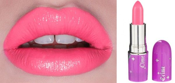 Photo of radioactive pink lipstick….Geradium by Lime Crime.  I want to rock this powerf…