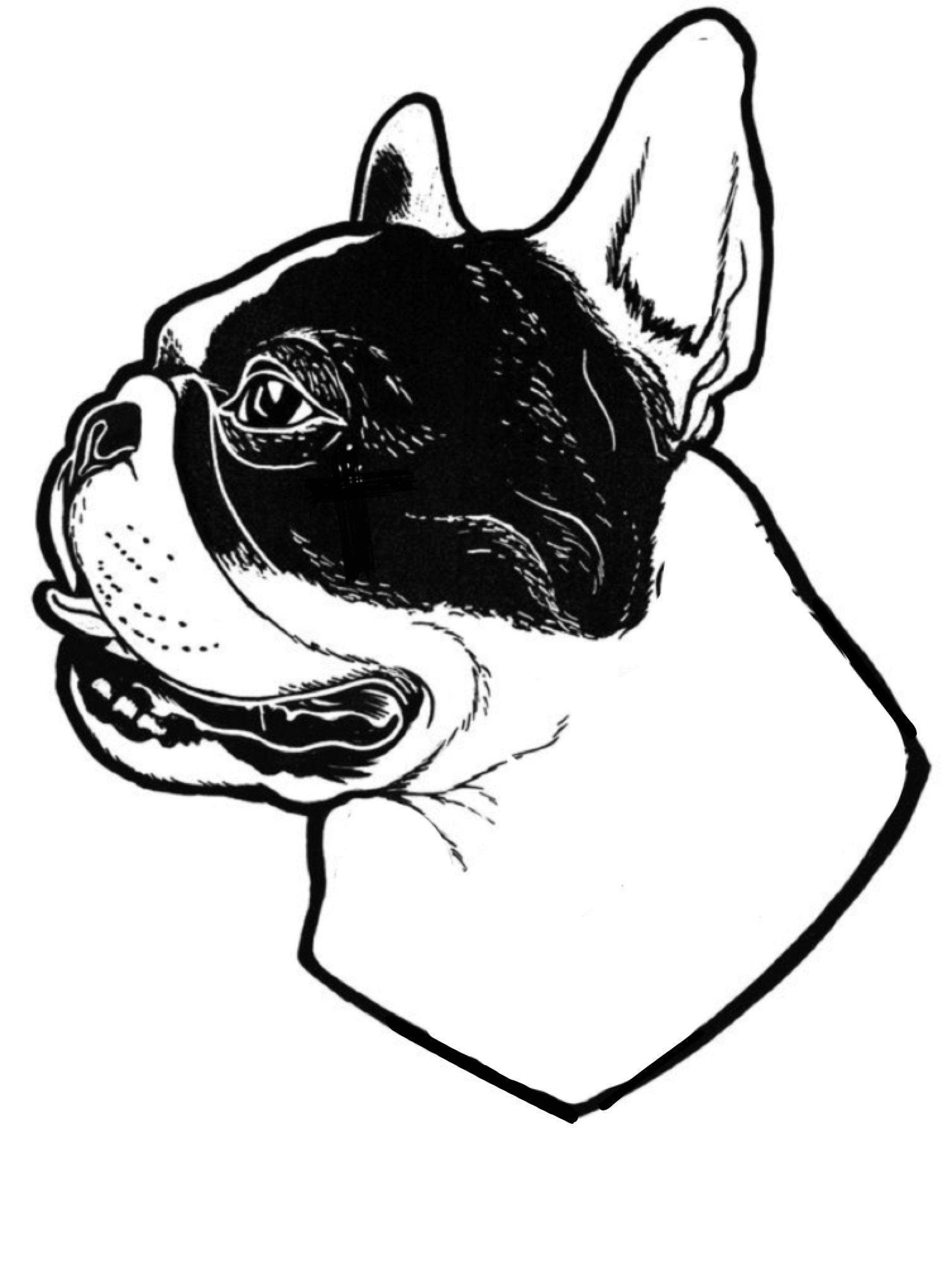 French Bulldog Illustration Tattoo Stencil Buldog Franse Buldog Buldog Franse Bulldog