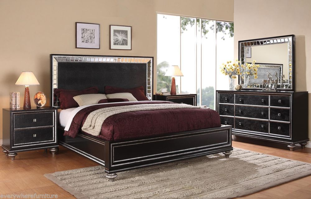 Glam Black Mirrored King Size Bed Bedroom Furniture Hollywood ...