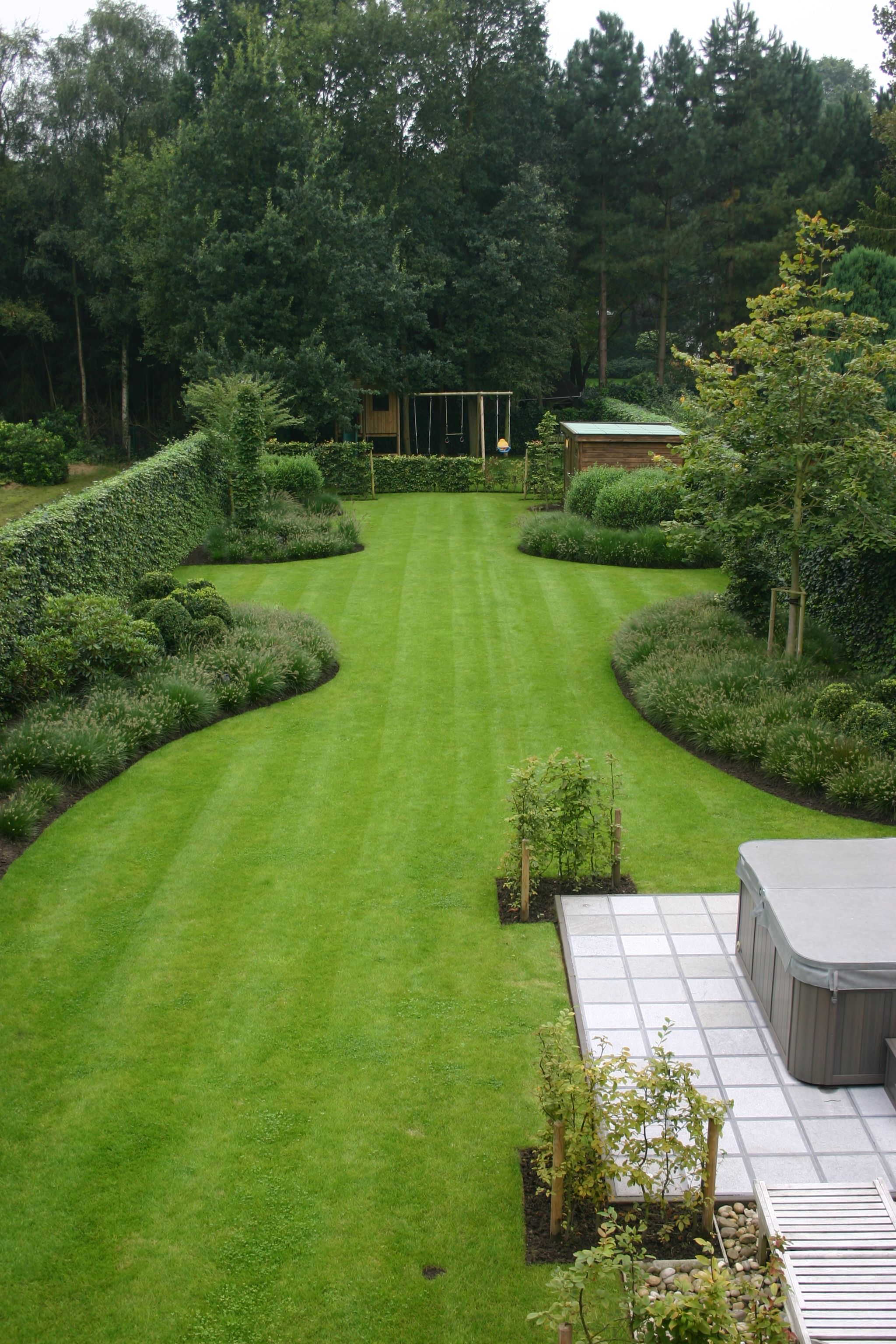 Philippe Haseldonckx Tuinarchitectuur Aanleg Tuin In Brasschaat Large Backyard Landscaping Front Yard Landscaping Yard Landscaping Large backyard landscaping ideas with pool