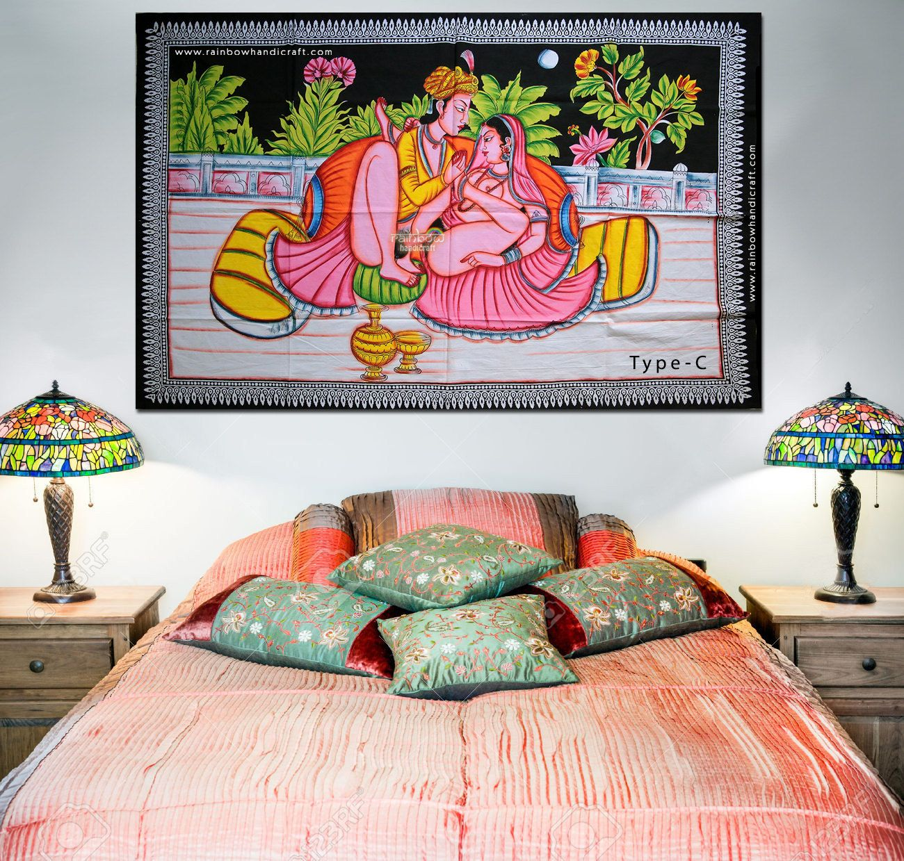 Erotic kamasutra sex position painting batik wall hanging ethnic ... for Indian Hanging Decorations  61obs