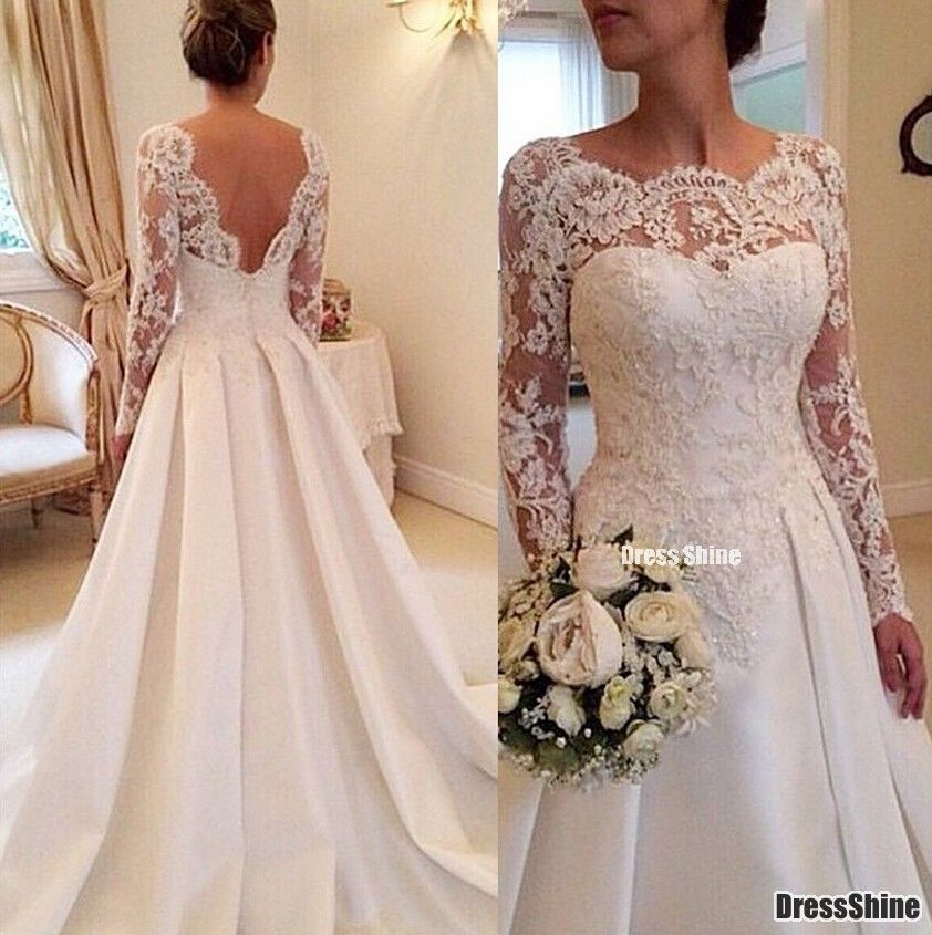 Classic Satin with Tulle and Lace Applique A Line Long Sleeve Formal Wedding Dress - Ball Gown Dresses - Wedding Dresses - Weddings Visit http://www.fashioncraycray.xyz/ for beautiful clothes right now.