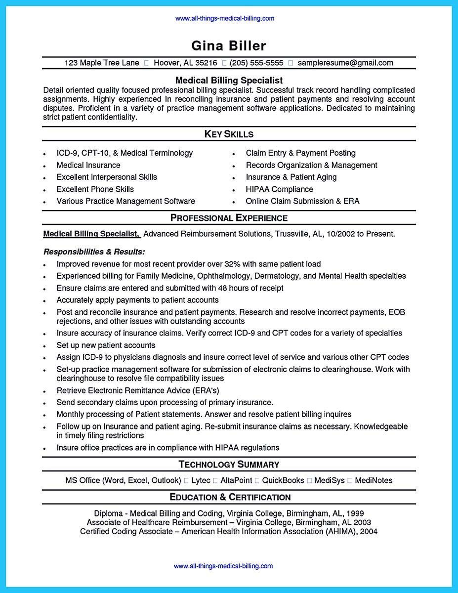 Claims Assistant Sample Resume Cool Exciting Billing Specialist Resume That Brings The Job To You .