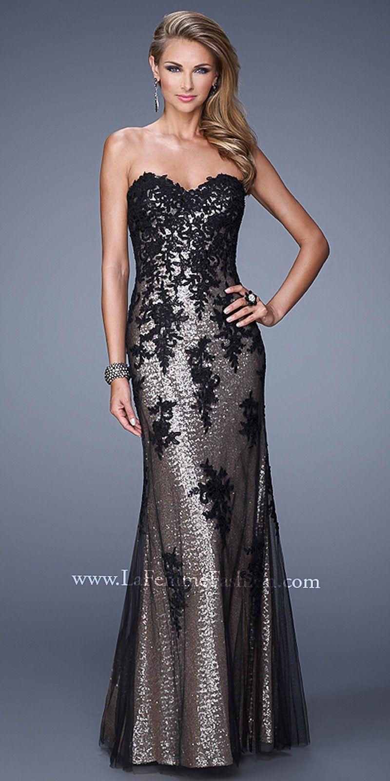Sequined floral applique prom dresses by la femme clothes of