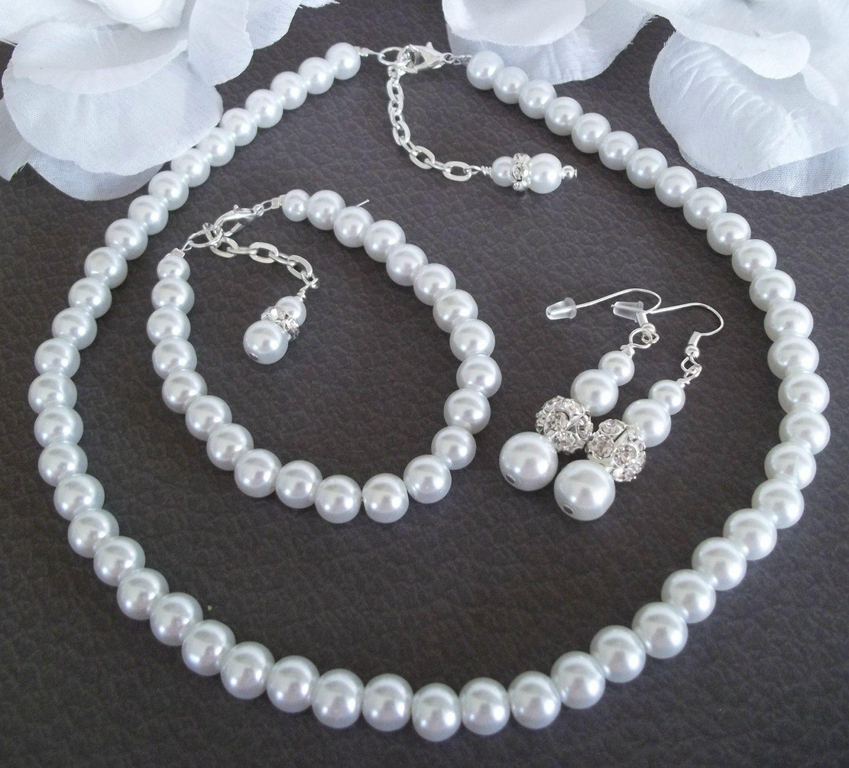 Wedding Bridal Jewelry Set, Three Piece Jewelry Set,Pearl