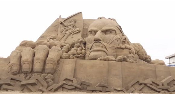Attack on Titan sand sculpture, Enoshima Island, South of Tokyo in Kanagawa Prefecture.