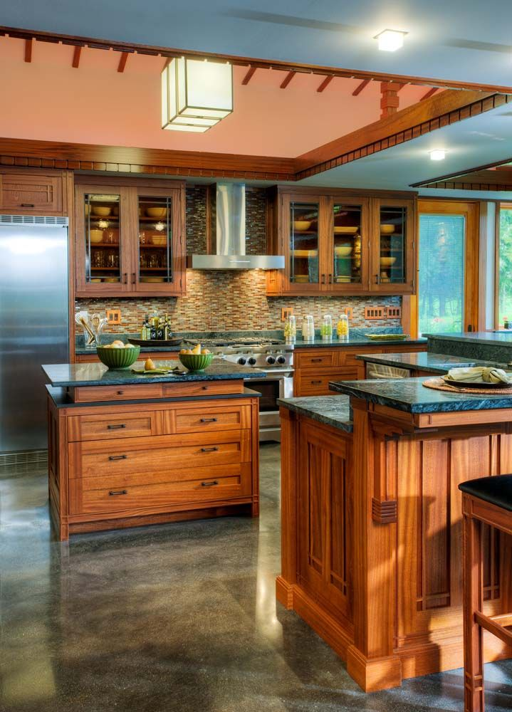 Custom Prairie Kitchen With Many Details Inspired By Frank Lloyd Wright.  Crown Point Cabinetry Gallery