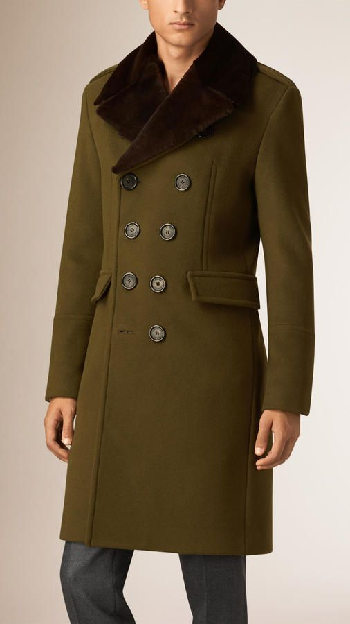 Burberry Wool Cashmere Topcoat With Detachable Fur Collar