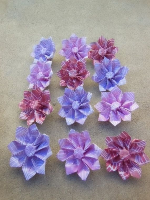 12 small origami flowers florigami fashions pinterest origami 12 small origami flowers by florigamifashions on etsy flower making origami flowers scrapbook paper mightylinksfo