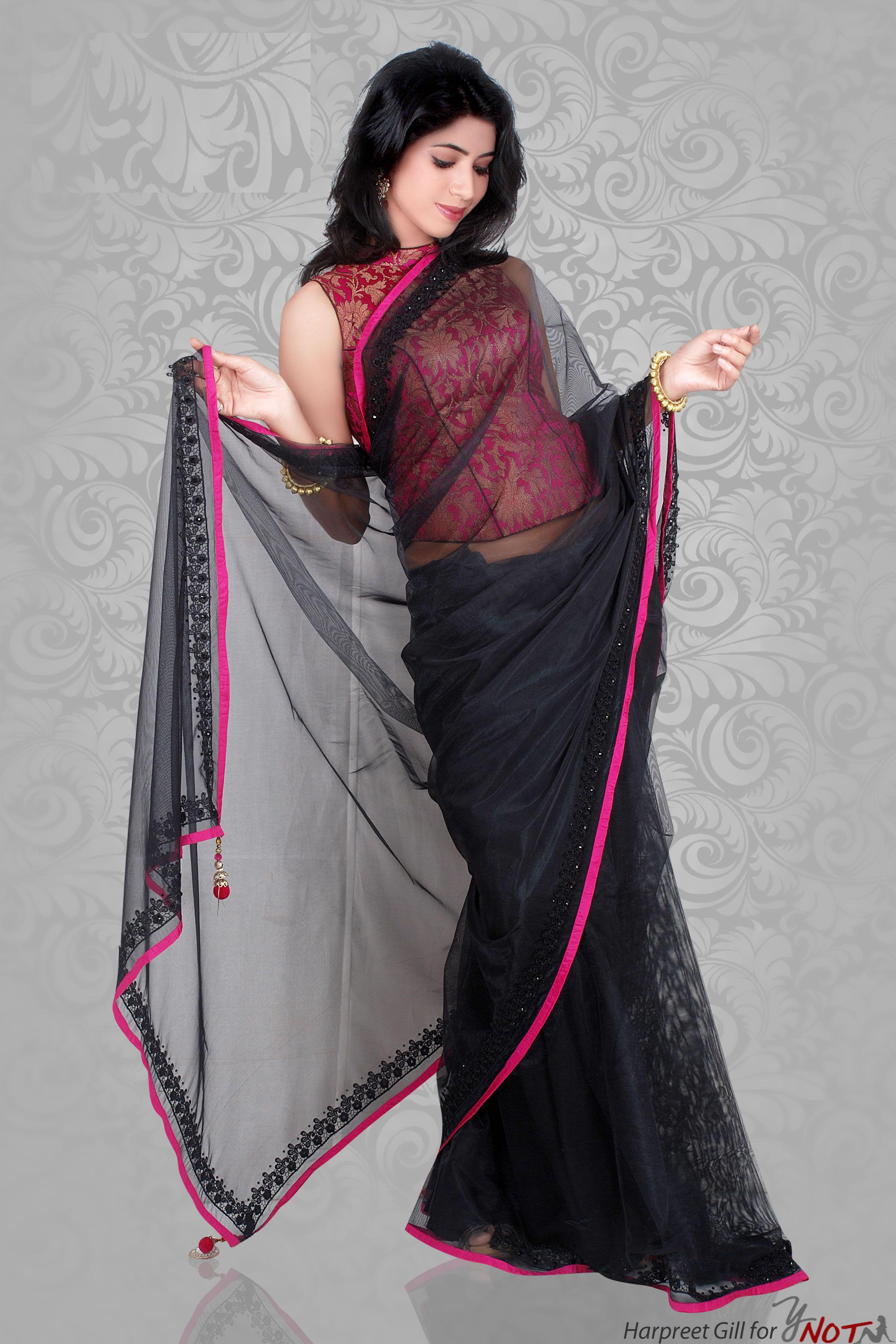 ddab8e64fc1 black-saree-fuschia-pink-brocade-blouse-harpreet | sareeezzzzzzz ...