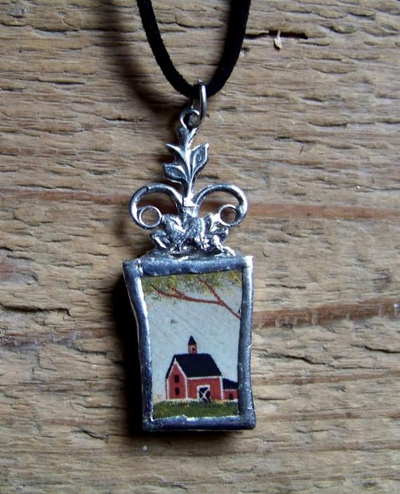 Pendant made of porcelain shard with church, set in copper and lead-free silver tin #churchitems