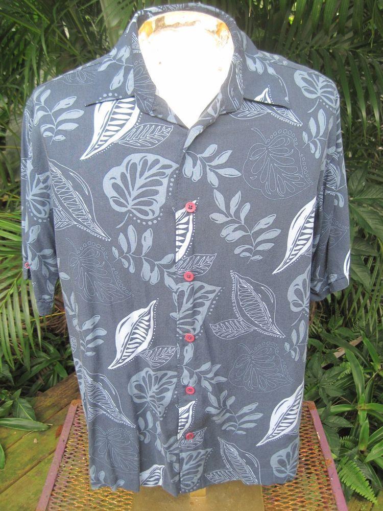 e28126bff HAWAIIAN Aloha SHIRT L pit to pit 24 CUBAVERA rayon tropical foliage blue  #SeeDescription #Hawaiian