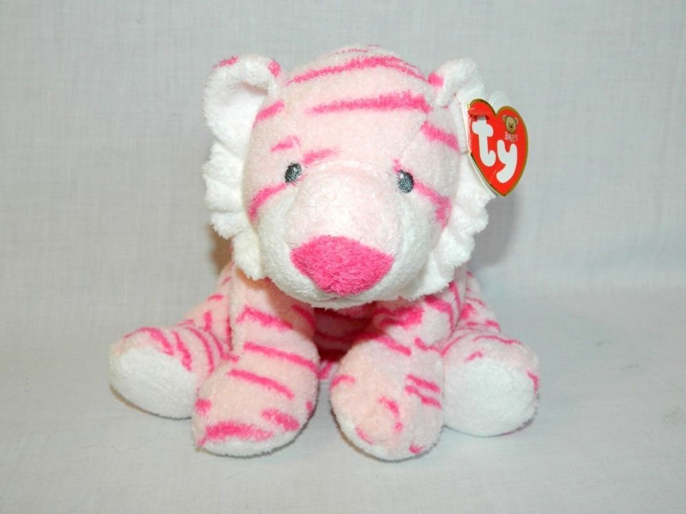 Ty Pluffies Love To Baby Growlers Pink Tiger 10 Plush New W Tag